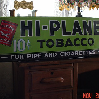 1940&#039;s Hi-Plane Tobacco...Embossed Tin Sign...10 cents...For Pipe and Cigarettes - Tobacciana