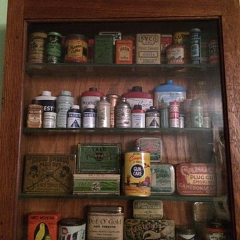 A display of some of my vintage tins - Advertising
