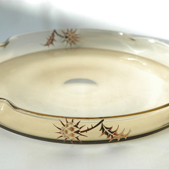 emile gallé large glass tray. with thistle enamel decoration.  circa 1884-1889