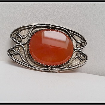 Edith Morris  - Silver and carnelian brooch - Arts and Crafts