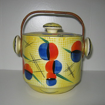 Czechoslovakia Pottery Biscuit Barrel Rare Decor 1930's
