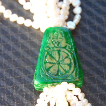 Vintage Chinese/Japanese Jade Real Seed Pearls Necklace - Asian