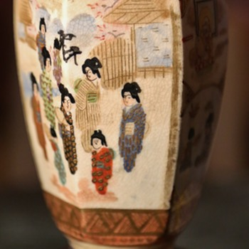 Satsuma Vase Depicting Women in the Garden and Monks