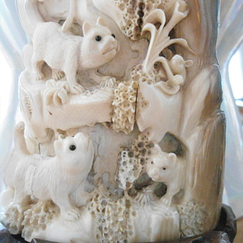 Carved Wooly Mammoth Ivory of  some kind of animals