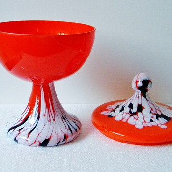 Art Deco Kralik? Orange White Black Spatter Lidded Candy Dish