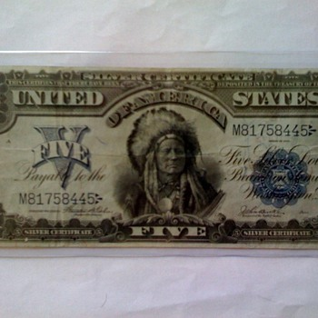 Silver Certificate - 1899 Indian Five  - US Paper Money
