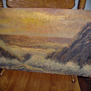 1800's Seashore  Painting From Old Church Sale