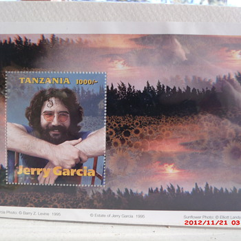 1995 Tanzanian postage stamp commemorating Grateful Dead&#039;s Jerry Garcia  - Stamps