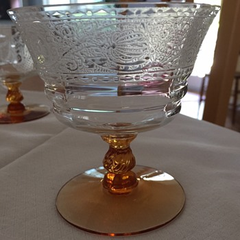 etched glassware with amber base