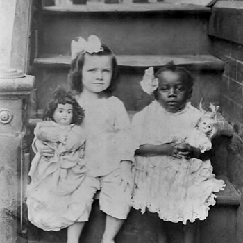Old Photo of 2 girls with dolls  - Photographs