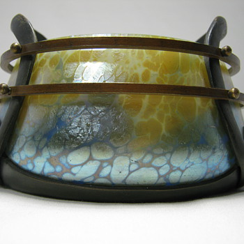 RARE LOETZ Art Glass Mounted bowl, Thea with Blue Phänomen gre 85/5039 ca. 1902 - Art Glass
