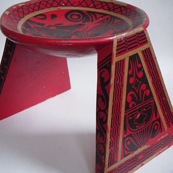 Mexican? Folk Ark Stool w/Bowl Top~Applied Design~Heavy & Old,