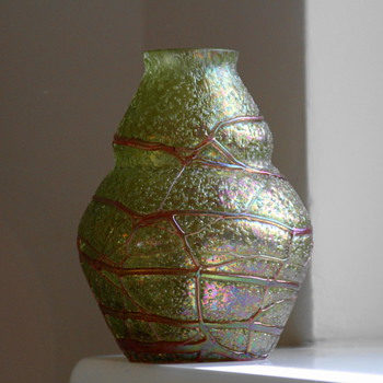 Bohemian Kralik Overshot with Veins Vase - Art Glass