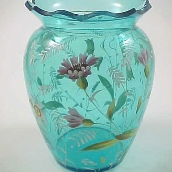 Victorian Bohemian Blue Hand Painted Floral Art Glass Vase - Art Glass