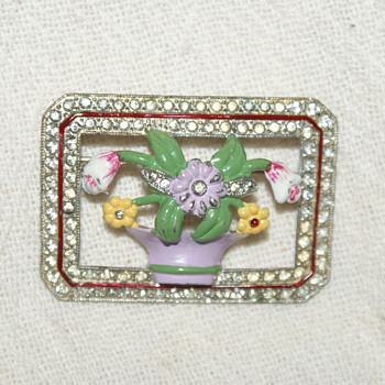 Vintage Rhinestone Pot Metal and Enamel Brooch (Coro?)