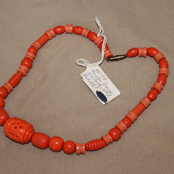 Hand Written Tag with Orange Necklace - Costume Jewelry