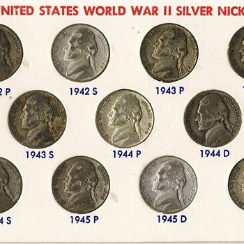 U.S. WW II Silver Nickels (1942-1945) - US Coins