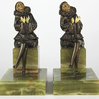 1925 Harlequin Girl on Bench Bookends, J B Hirsch - Art Deco