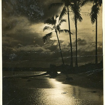 Old Photo of a Pacific Ocean Scene.