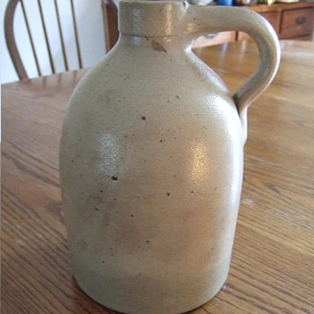 Salt Glazed Jug with Albany Slip inside glaze.