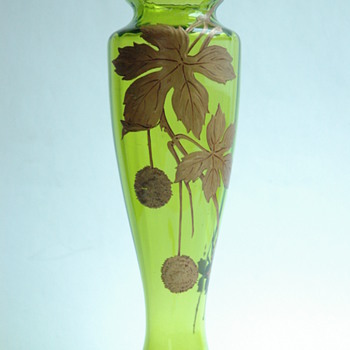 "french baccarat cristal vase with gold enamel "" PLANER TREE"" pattern"
