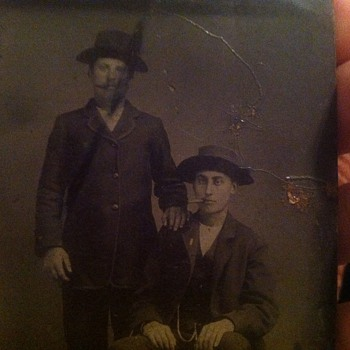 Tintype of two men with cigars - Photographs