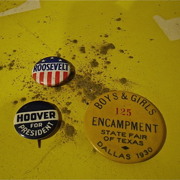 Roosevelt and Hoover Buttons