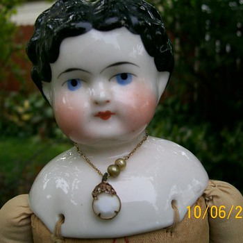 1880&#039;s exposed ear wavy hair china doll  - Dolls