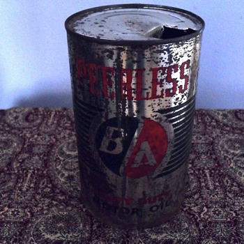 BA Peerless Heavy duty motor oil can. - Petroliana