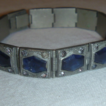 Antique Art Deco Bracelet Blue Stones  - Art Deco