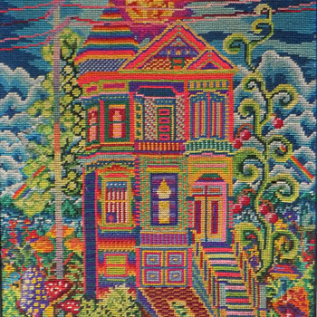 #9 ~ 1970's San Francisco Hippie Psychedelic House Needlepoint - Folk Art