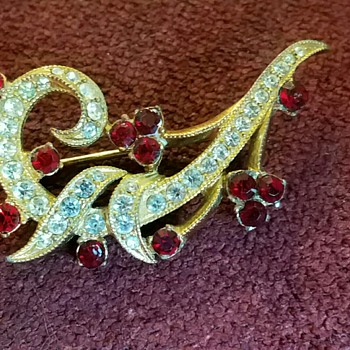 Vintage Bright Red and White Rhinestone Brooch/Pin - Costume Jewelry