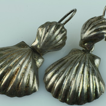Mexican sterling silver shell earrings - Fine Jewelry