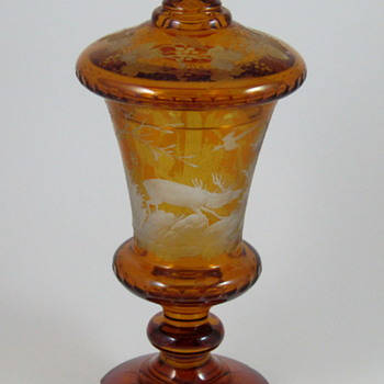 Amber Engraved Bohemian Pokal with Lid - Art Glass