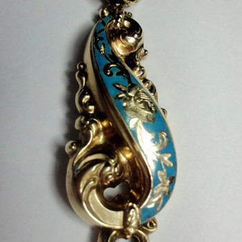 Biedermeier  gold enameled pendant - Fine Jewelry