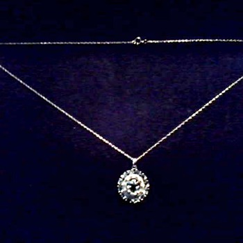 Sparkly 10K White Gold Pendant / White Sapphire and Diamonds / Marked Mexico / Circa 20th Century