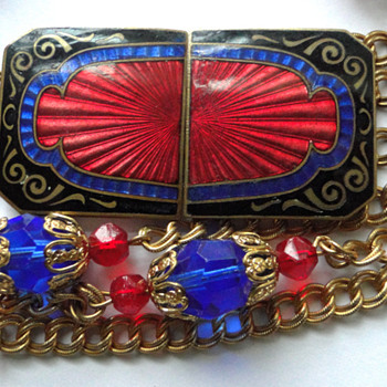 Enamel champleve belt buckle and chain belt with crystals - Accessories
