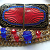 Enamel champleve belt buckle and chain belt with crystals