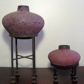 OBJECTS OF ART - POTTERY CANDLE HOLDERS FROM BALI  - Art Pottery