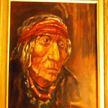 Robert Freeman oil painting of Sioux Indian - Native American