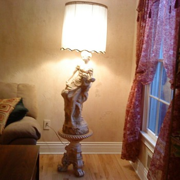 Woman with child and flowers 2 piece floor lamp