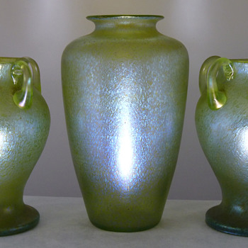 3x Loetz Creta Ciselé Vases (c.1899) Presenting as a Garniture - Art Glass