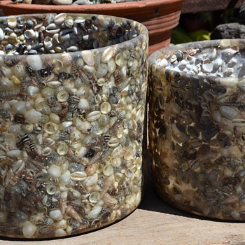 Resin or Plastic [?] and Shell Planters