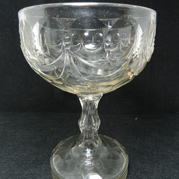 "Early Cut Crystal ENCLOSED BOTTOM? Compote 7.5"" Tall"