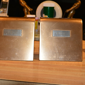 Smith Metal Arts Silver Crest Bookends  - Art Deco