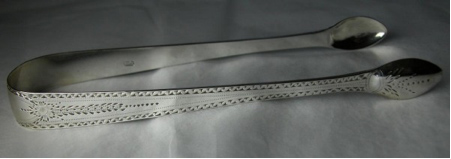 """A pair of """"standard"""" style tongs by Charles Hougham, dated c1790"""