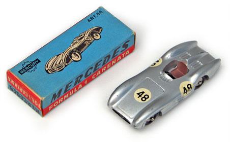 mercury # 56 mercedes formula 1, circa 1956, diecast italian
