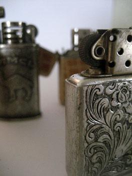 close up of zippo cigarette lighter
