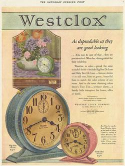 Illustrates crackle green Tiny Tim, crackle blue Big Ben and crackle pink Baby Ben clocks