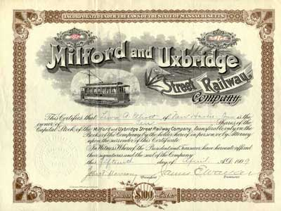 Milford and UxBirdge Railroad Stock. Issued in 1909. #392. Perhaps unique in this early variety where the car travels right.